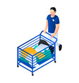 dirty clothes cart icon isometric style vector image vector image