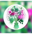 Drawing of beautiful tulips in a pot vector image vector image