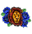 embroidery colorful pattern with lion and crown vector image