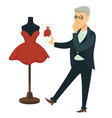 fashion designer comparing dress to draft tailor vector image vector image