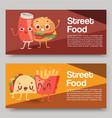 fast food smile cartoon expression vector image vector image