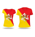 Flag shirt design of Sicily vector image vector image