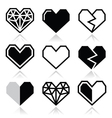 Geometric heart for Valentines Day icons vector image vector image