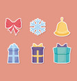 gift box with set icons of christmas vector image vector image