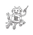 hand drawn brocken robot isolated on white vector image vector image