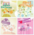 Happy birthday background - floral set vector image vector image