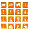 house cleaning icons set orange vector image vector image