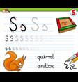 how to write letter s worksheet for kids vector image