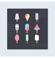 Ice-cream and Popsicle on Sticks Card vector image vector image