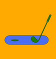 icon in flat design golf stick and hole vector image vector image