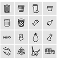 line garbage icon set vector image