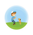 little boy and puppy walking at park vector image