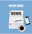 lunch news online newspaper in style vector image vector image