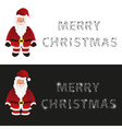 mery christmas with cartoon Santa Claus greeting vector image