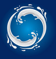 milk circle splash on blue background vector image vector image