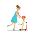 Mom Helping Son Ride A Scooter Loving Mother vector image