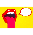 Mouth sticking tongue out with speech bubble vector image vector image