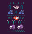 pixel art flying owls tress and decorative vector image
