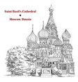 saint basils cathedral in moscow hand drawing vector image vector image