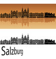 Salzburg skyline in orange vector image vector image