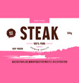 sans serif font in classic style and steak label vector image