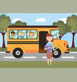 school bus vehicle with teacher and students vector image vector image