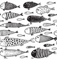seamless pattern with hand drawn cute fish in vector image