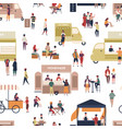 seamless pattern with people walking among vans vector image vector image