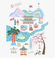 seoul lovely travel card design - sights and vector image vector image