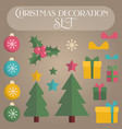 set of flat christmas decoration elements vector image