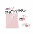 shopping online bag credit card and coupon vector image vector image