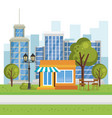 store building with cityscape scene vector image vector image