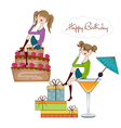 two party girl set isolated on white background vector image