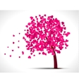 Valentine tree with pink hearts for your design vector image