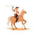 western cowboy in hat riding horseback wild west vector image