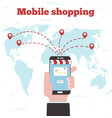 world mobile shopping concept in line art style vector image