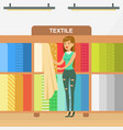 young woman choosing fabrics for curtains in vector image