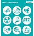 set of round icons white Laboratory equipment vector image
