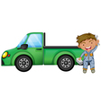 A man holding tools in front of a green cargo vector image vector image