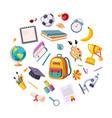 back to school concept school supplies round vector image vector image