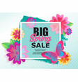big spring sale banner with colorful flower vector image vector image