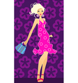 blonde with handbag vector image vector image