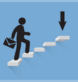 businessman climbs the stairs of success blue vector image