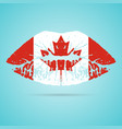 canada flag lipstick on the lips isolated on a vector image
