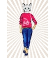 cat girl dressed up in sport wear animal vector image vector image