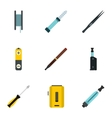 Cigarette icons set flat style vector image