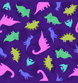 cute and funny dinosaurs in neon colors vector image