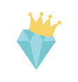 diamond with crown icon on white background vector image