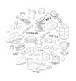 different dough items and kitchen accessories in vector image vector image