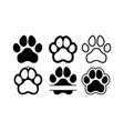 dog puppy cat paw silhouette icons set tags i vector image vector image